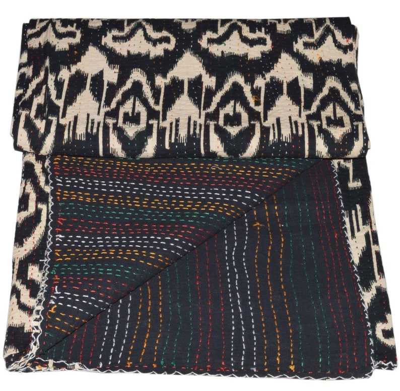 Black /& White Indian Throw Kantha Quilts Twin Reversible Cotton Handmade Coverlet Bohemian Ikat Comforter Coverlet Ethnic Floral Bed Cover