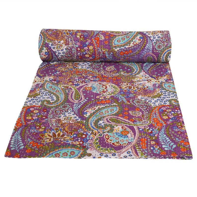 Large Purple Paisley Stitched Comforter Indian Coverlets Queen Kantha Quilts