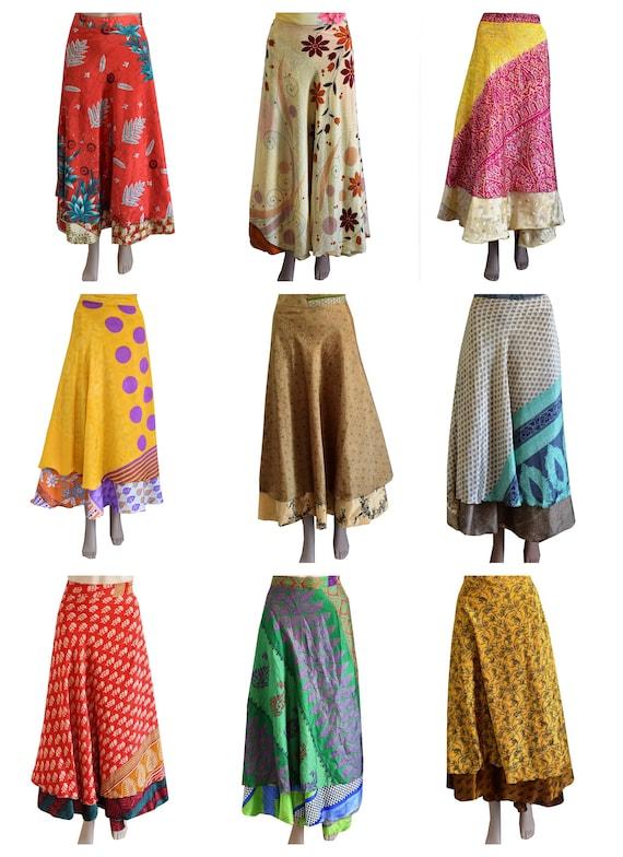 Wholesale Reversible Magic Sari Silk Wrap Summer Skirt  Sundress Sarong Saree  I