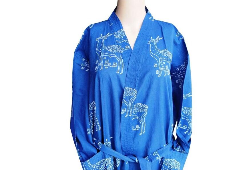 Indigo Cotton Kimono Robes for Women Indian Dressing Gown Block print Beach Cover Long Women/'s Bath Robe Shirt Free Size Night Cotton Kaftan