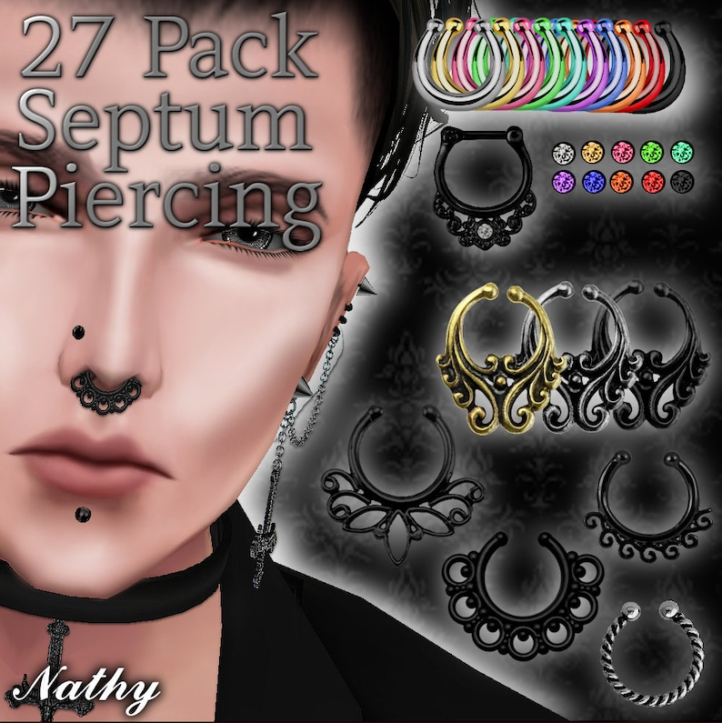 27 Septum Piercing Texture + Opacity Pack, IMVU Creating product, IMVU  Creators, RAR file, Piercing Textures, Female and Male texture