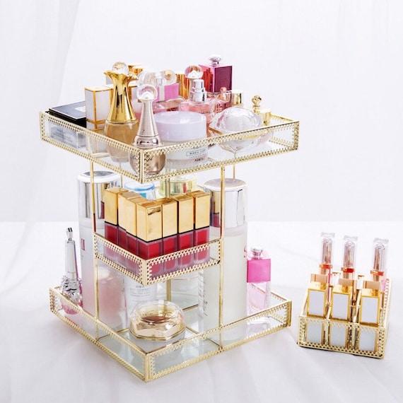 gold-makeup-organizer,-perfume-organizer,-cosmetics-storage-box,-glass-transparent-rotate-desktop-organizer,-perfume-tray,-metal-makeup-hold by etsy