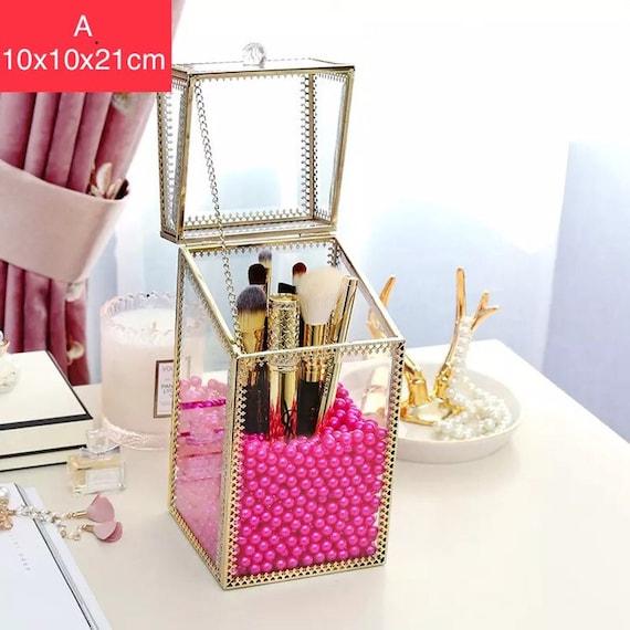 Glas Kosmetikbox Klar Dekoratives Tablett SLHEQING/® Make up Organizer Beauty Organizer Tray Schmuck Pinselhalter Gold