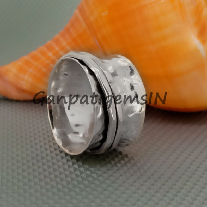 Spinner Ring Woman Hammered Silver Spinner Style Ring Sterling Silver Spinner Ring Spinner Ring for Woman Spinner Spinner Ring