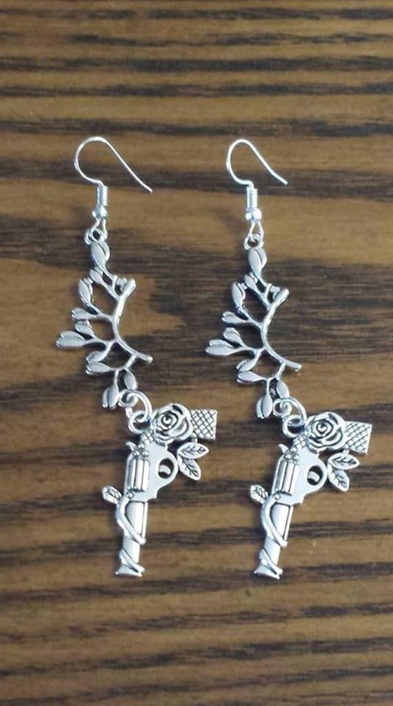 Silver-tone Revolver Dangle Earrings