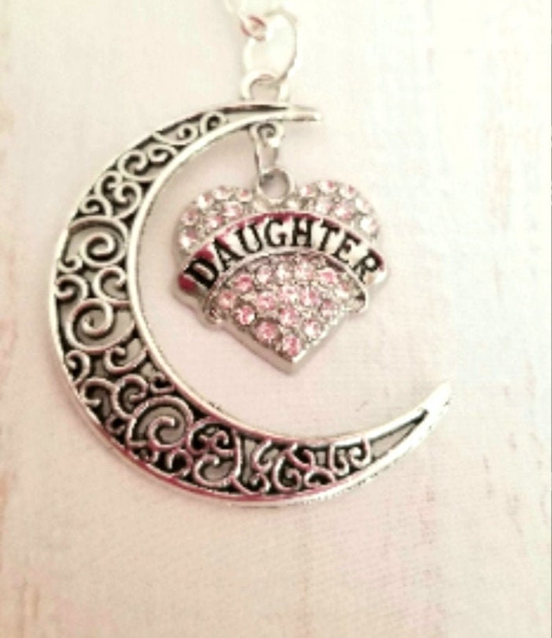 Daughter Jewelry Daughter Graduation Daughter Wedding Daughter Inlaw CZ Heart /& Moon Pendant Daughter Gift Silver DAUGHTER Necklace