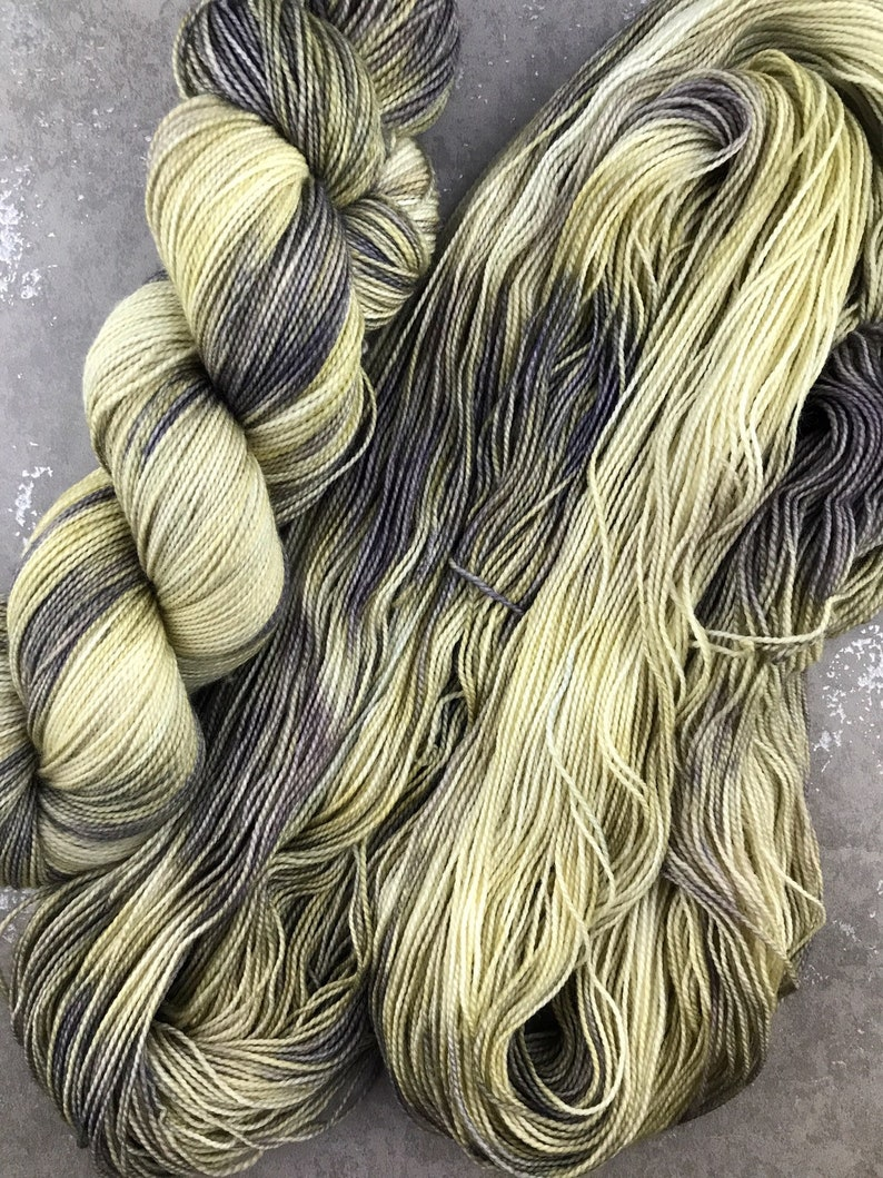 FREE US SHIPPING Hand dyed sock yarn Light green and brown yarn for knitting and crochet Dye Lot 004 #momlife