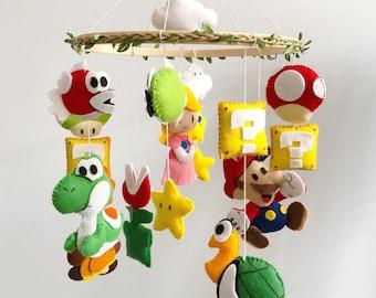 Nintendo Super Mario Baby Mobile - Retro Baby Mobile - Felt Super Mario Nursery Crib Mobile