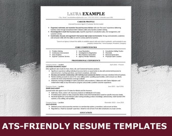 ats resume template etsy