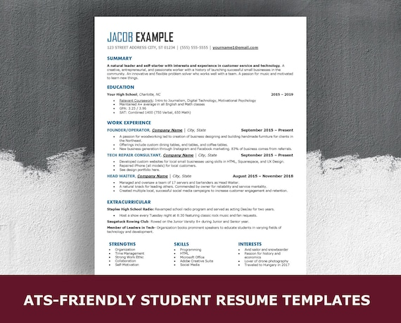 high school ats resume template for word simple entry