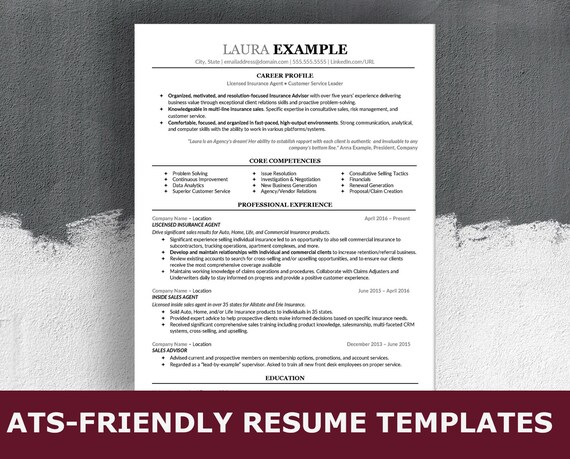 ats resume template for word simple modern professional