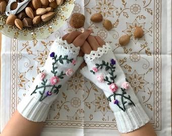 Rose, Knitted, Chunky Crochet Fingerless Gloves, Arm Warmers, Fingerless Mittens, Wrist Warmer, Mothers Day Gift For Her, Birthday Gift