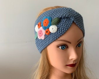 Warm Headbands Knitted Winter Fashion Rose Chunky Headband Birthday Gift to Her Ear Warmer Mothers Day Gift Head Wrap Dark Brown