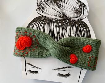 Army Green, Crochet, Heart, Knitted, Warm Headbands, Chunky Headband, Head Wrap, Birthday Gift, Earmuff , Ear Warmer, Valentines Gifts