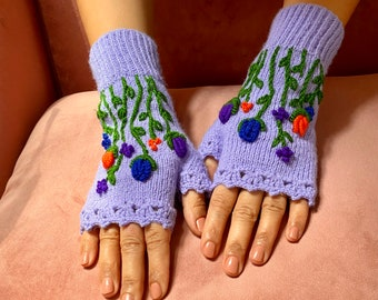 Rosebuds, Flowers, Lailac, Knitted, Chunky, Handmade, Fingerless Gloves, Arm Warmers, Wrist Warmer, Mothers Day Gift, Birthday Gift