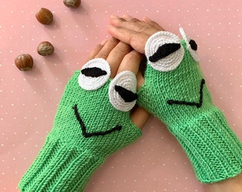 Crochet, Green Knitted, Kermit the Frog, Cartoon, Fingerless Gloves, Arm Warmers, Fingerless Mittens, Wrist Warmer, Teenage Gifts, Birthday