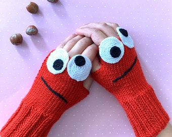 Crochet, Red, Cartoon, Knitted, Fingerless Gloves, Arm Warmers, Fingerless Mittens, Red, Wrist Warmer, Teenage Gifts, Birthday Gift,