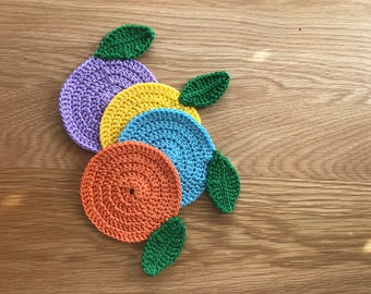 Set Of 4 Coasters, Crochet Coasters, Mug Rugs, Rounds Coasters, Mothers Day Gifts, Birthday Gifts,