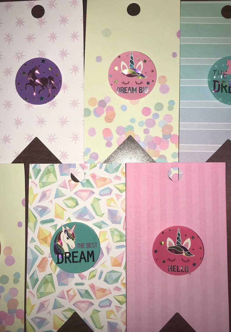 Unicorn Rainbows Dreams Paper Gift Tags Handmade Tags Party Favor Tags Wedding Tags Mini Bookmark Scrapbook
