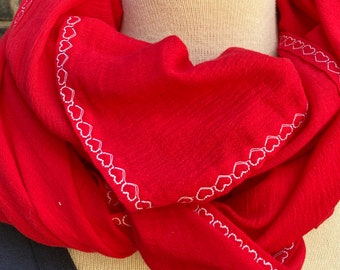 Red Bright Wrap with Embroidered Edge, 100% Cotton Scarf, Shawl, Blanket, Light Summer Wrap, Swaddle, Nursing Cover