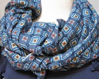 Bright Wrap 100% Cotton Scarf -  Blue/Teal/Red Tiles Print - Shawl - Blanket - Light Summer Wrap - Swaddle - Nursing Cover