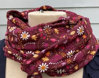 Bright Wrap 100% Cotton Scarf, Shawl, Blanket, Light Summer Wrap, Swaddle, Nursing Cover Autumn Floral Print