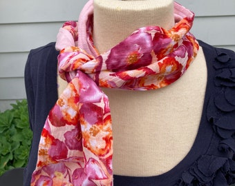 100% Cotton Gauze Scarf, Double-Sided Beautiful Prints and Solids, Light and Chic Neckwear, Florals