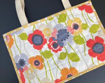 Floral Tote Bag - Red/Orange/Yellow Poppies with Gold Lining and Floral Pockets Upcycled Fabric Bag - Gorgeous Gift