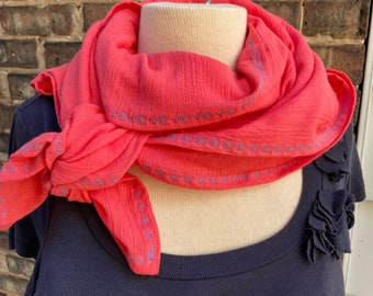 Coral Bright Wrap with Embroidered Edge, 100% Cotton Scarf, Shawl, Blanket, Light Summer Wrap, Swaddle, Nursing Cover