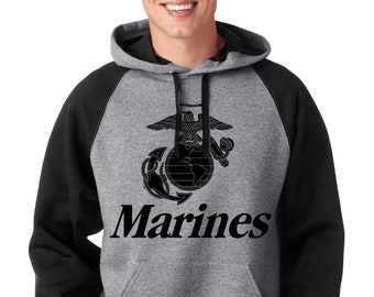 cebd1e6515f Marines Black Raglan Hoodie