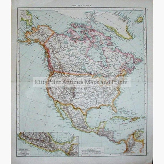 Antique Map Of North America.Antique Map North America Mexico 1890 Etsy
