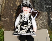 Handmade, Hand Knitted, Pearly Queen, Art, Doll, In Lace And Faux Pearl, Costume, Cockney, Tradition, Gift, Present, Display, Collectible