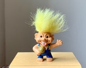 Vintage, 1980s, 1990s, Weetos, Good Luck, Yellow Hair, Troll, With Microphone, Singer, Band, Karaoke, Pencil Topper, Retro, Gift, Present