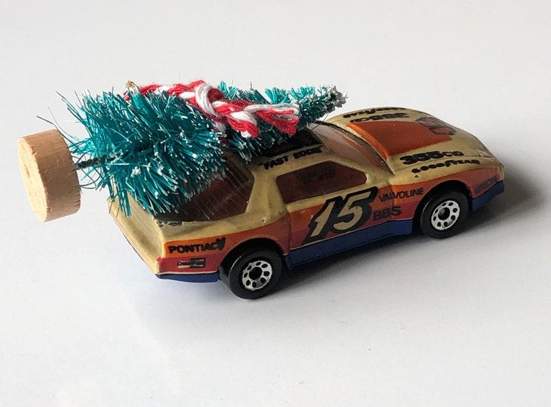 Pontiac firebird Stocking Toy Vintage 1990 racing Car Christmas blue With Tree Christmas Altered Ornament Matchbox Decoration