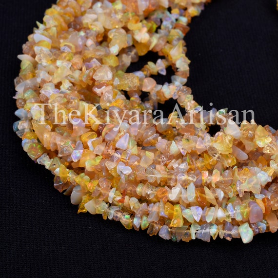 """16/"""" 1 Strand Fire Ethiopian Opal Gemstone Chips Nuggets Jewelry Making Beads"""