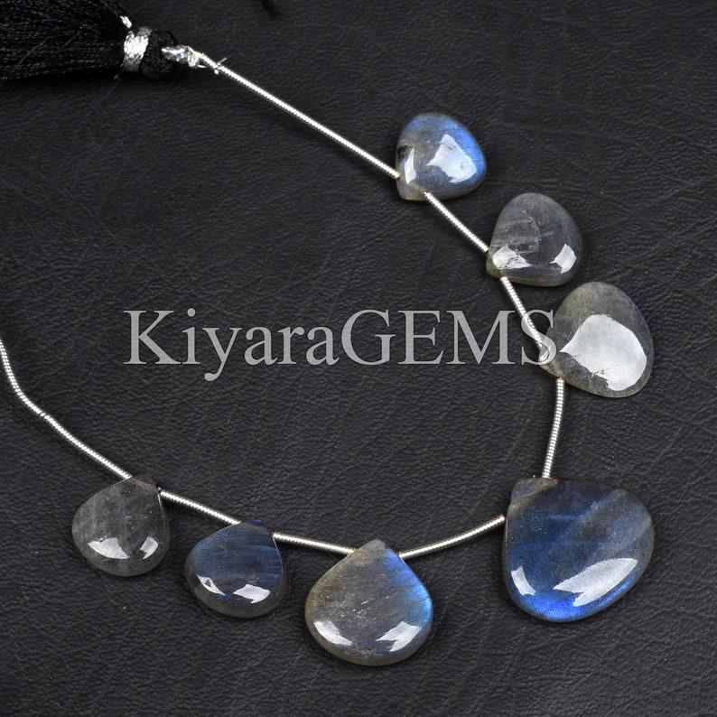 Blue Loose Beads Natural Fire Labradorite 7pcs Natural Blue Labradorite Beads 12-20mm Smooth Beads Heart Shape Beads Labradorite Beads
