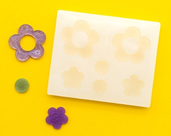 """1.25"""" Long 3mm Deep Flat Flower With Hole Shiny Silicone Earring Mold For Resin MP021"""