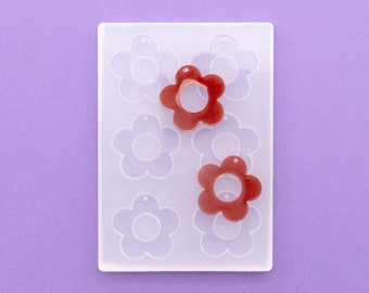 """1.25"""" Long 3mm Deep Flat Flower With Hole Shiny Silicone Earring Mold For Resin MP237"""