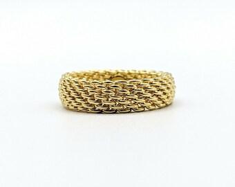 142740bbb Beautiful Tiffany & Co. 18k Yellow Gold 750 Somerset Mesh Weave Ring Size  5.75