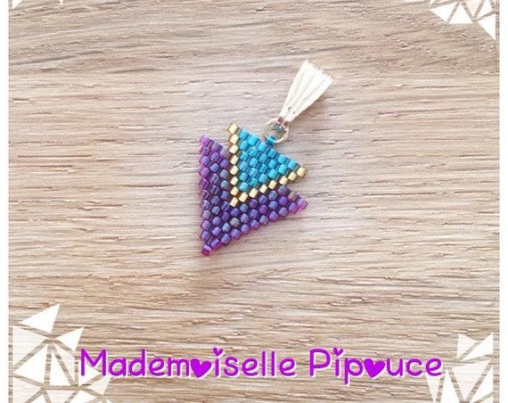 Metis woman woven miyuki beads pendant