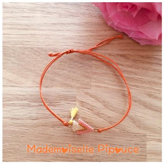 Orange and yellow women's adjustable mestizo bracelet