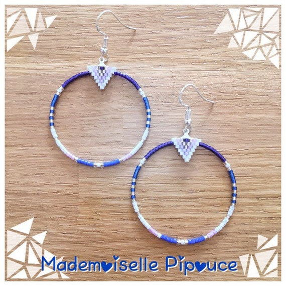 Earrings Creole blue woman