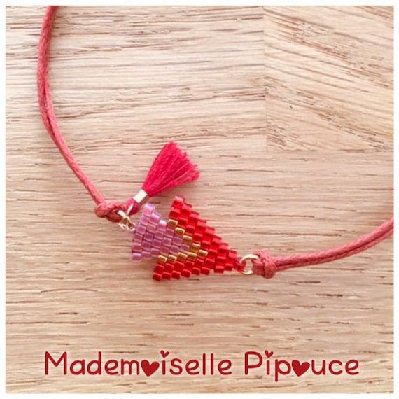 Women's red métis adjustable bracelet