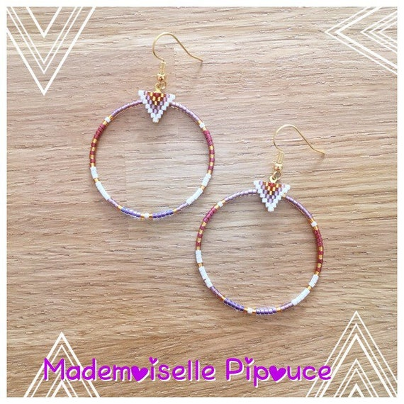 Hoop earrings women purple