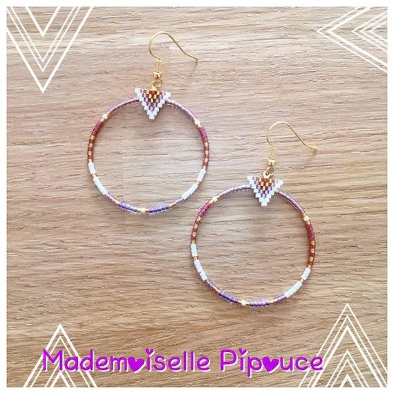 Boucles d'oreilles créoles femme violette