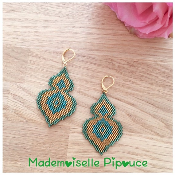 Blue and green Maia woman earrings