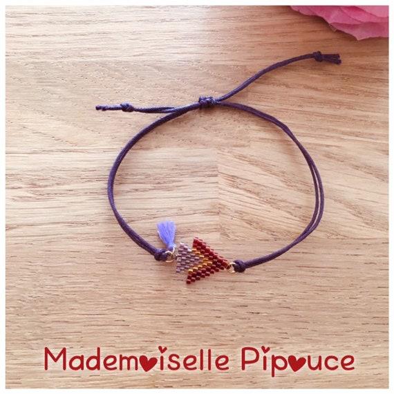 Women's purple and dark red half-breed adjustable bracelet