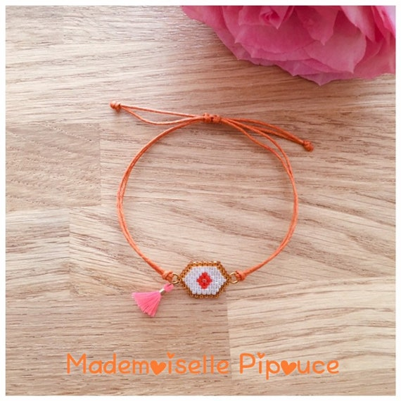 Women's dark orange hestia adjustable bracelet