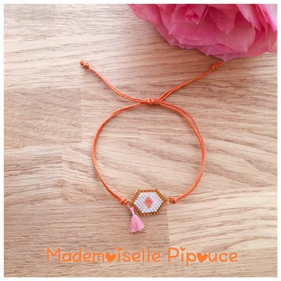 Women's orange hestia adjustable bracelet