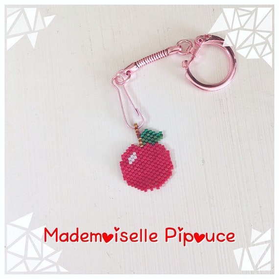 Beads woven Apple keychain